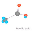 acetic acid 3d molecule chemical science vector image vector image