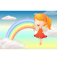 An angle girl and a rainbow vector image