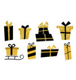 big set golden gifts box gift icons in flat style vector image