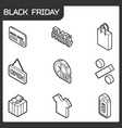 black friday isometric icons vector image vector image