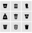 black trash can icon set vector image vector image