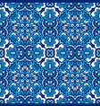 blue geometric floral seamless tile pattern vector image vector image