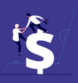 businessmen climbing to dollar investment support vector image