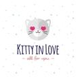 cartoon cat head logo Flat logotype vector image vector image