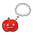 cartoon shiny apple with thought bubble vector image vector image