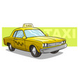 cartoon yellow cool taxi car icon vector image