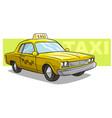 cartoon yellow cool taxi car icon vector image vector image