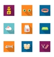 Cat equipment set icons in flat style Big vector image