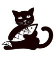 cat with fish in its paws vector image vector image