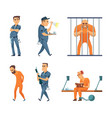 characters set of guards and prisoners vector image vector image