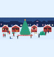 christmas market with souvenir stalls and a large vector image vector image