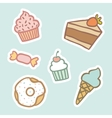 Cupcake piece of cake ice cream cone candy donut vector image vector image