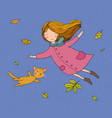 cute little girl and a cute cartoon cat flying vector image