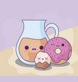 cute teapot with delicious food kawaii style vector image vector image