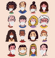 diverse faces people set human avatars in vector image vector image