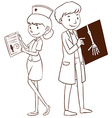 Doctor and nurse holding files vector image