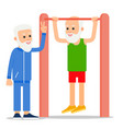 elderly man pulls up exercising one senior doing vector image