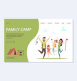 Family camp landing page happy cartoon