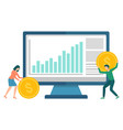 financial teamwork employee and computer vector image vector image