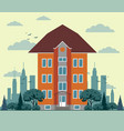 flat design city houses skyscrapers colorful vector image