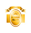 gold badge emblem with curving ribbon icon of vector image