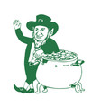 green leprechaun standing by pot of gold drawing vector image