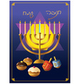Hanukkah menorah with candle and doughnut vector image