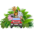 Happy holiday animal africa in the red car vector image vector image