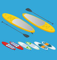 isometric set stand up paddle surfing and stand vector image vector image