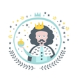 King Fairy Tale Character Girly Sticker In Round vector image