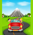 man and family driving a car on the road vector image vector image