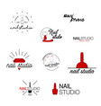 nail studio icon beauty labels greeting vector image