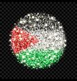 palestine flag sparkling badge vector image vector image