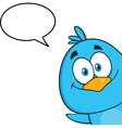 Peeking Bird Cartoon with Speech Bubble vector image vector image