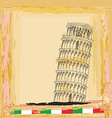pisa tower vintage background vector image vector image