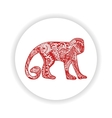 Red monkey with hand-drawn pattern vector image vector image