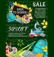 school sale poster with student item on blackboard vector image vector image