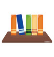 schooldesk wooden with pile books vector image