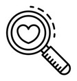 search heart like icon outline style vector image
