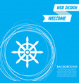 ship steering wheel icon on a blue background vector image