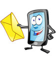 smartphone cartoon character with envelope clip vector image vector image