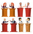 speaker set man woman giving public vector image