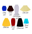 styles of skirts vector image