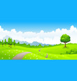 summer landscape with meadow flowers and mountains vector image vector image