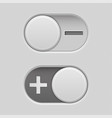 toggle switch slider buttons with minus and plus vector image vector image