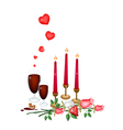 Valentine Candles with Lovely Rose and Wine vector image vector image