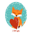 valentines day card with fox vector image