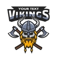 viking warrior skull label emblem vector image