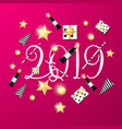 welcome 2019 pink background template vector image vector image