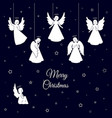 white christmas angels with wings and nimbus vector image